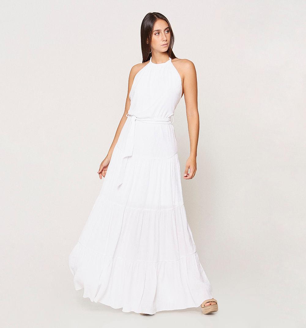 Vestido Mujer Largo En Blonda Con Boleros Blanco Studio F