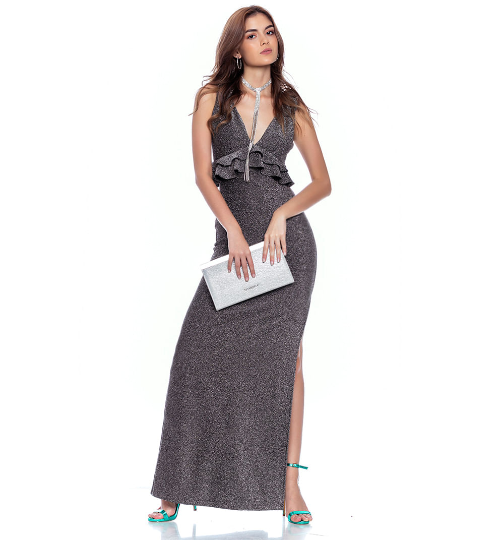 Vestido Largo Con Doble Bolero