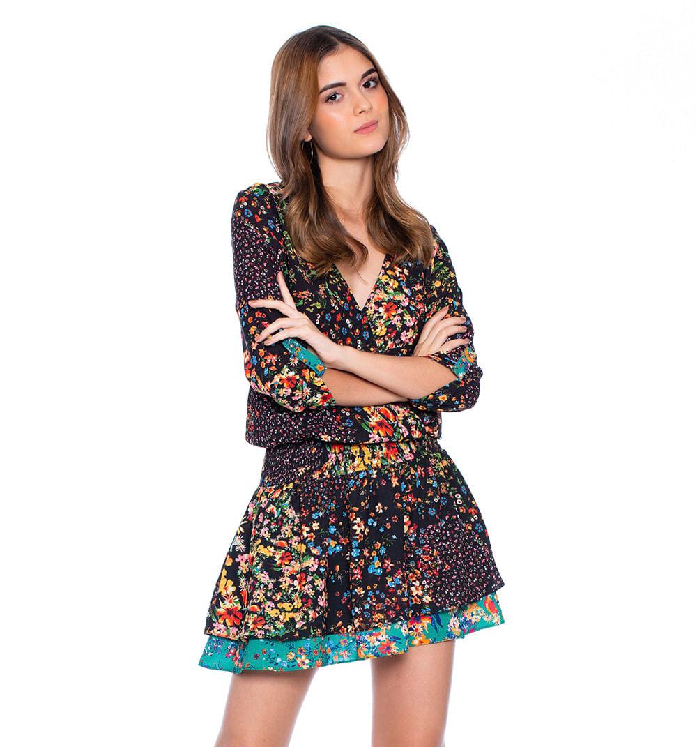 4ae5fd0f00fd Vestido corto ruchado con combinación