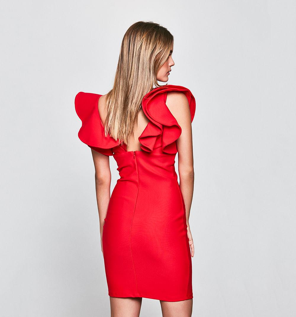 Vestido Rojo Y Flores Atado De Lado Zara
